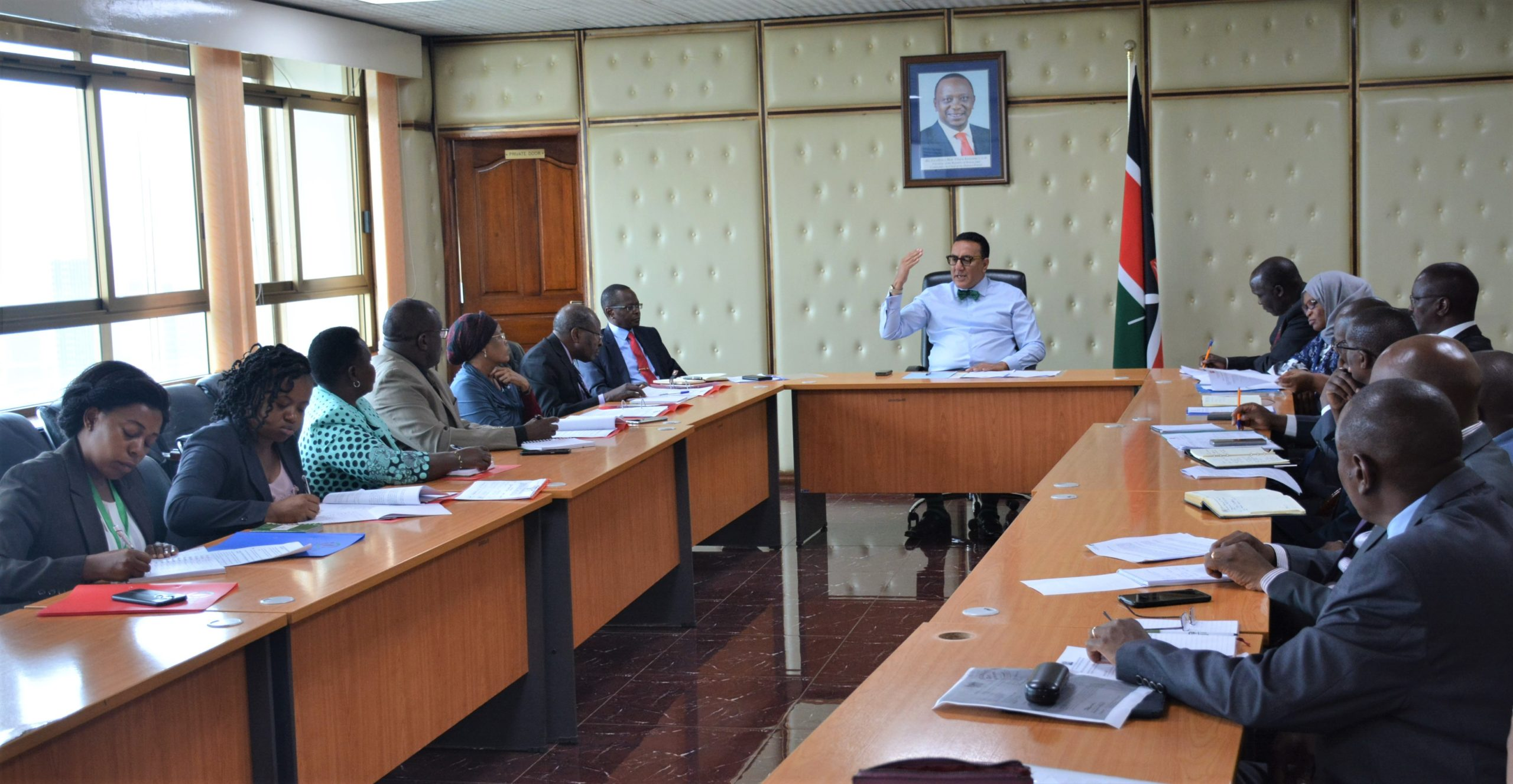 Consultative meeting with Ministry Of Tourism And Wildlife on the intergovernmental dispute between the County Government Of Taita Taveta and Kenya Wildlife Services held On 26th February 2020 at the Cabinet Secretary boardroom.