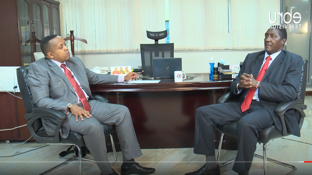 Ag. IGRTC Chairperson during interview with the Ebru TV journalist, Benji Ndolo.