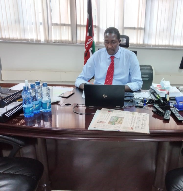 Ag. Mr. John Burugu during a Virtual Courtesy call with the Hon. (Rtd) Justice Kihara Kariuki